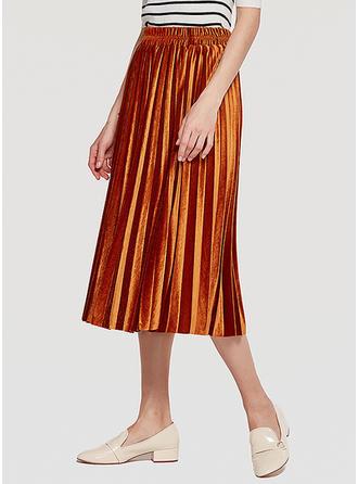 e68bb889fcaf Samet Jednobarevný Do půl lýtek Skládané sukně Sukně do tvaru A  (1005232421) - Sukně -  232421 elleins