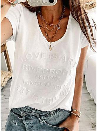 Couleur Unie Letter Col V Manches Courtes T-shirts
