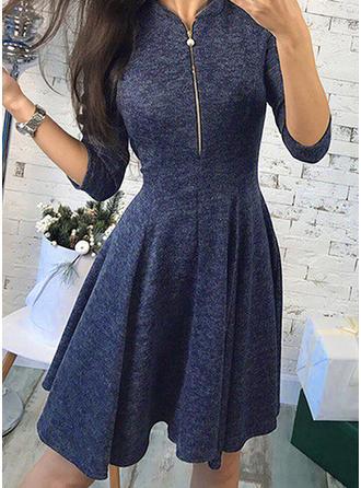 Rękawy 3/4 Linia A Nad kolanem Zabytkowe/Nieformalny Sukienki