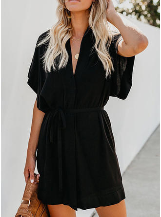 Solid Short Sleeves A-line Above Knee Little Black/Casual Dresses