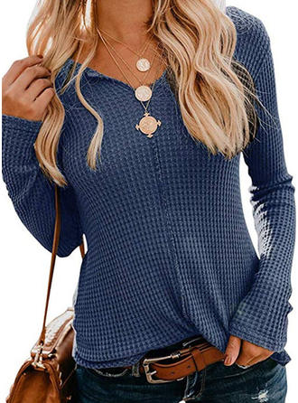 Solid V-neck Long Sleeves Button Up Casual Knit T-shirts