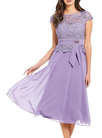 Lace Round Neck Midi A-line Dress