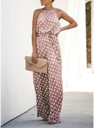 Polka Dot Spaghetti Strap Sleeveless Casual Jumpsuit