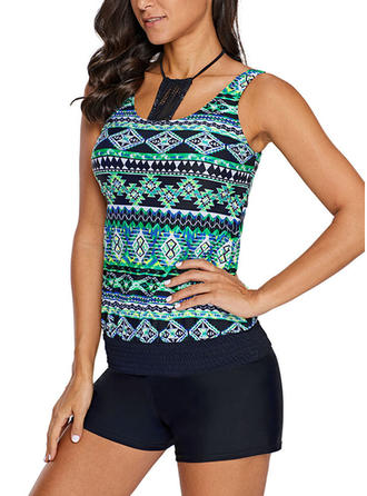 Top Tropical Print Halter Fashionable Plus Size Tops Swimsuits