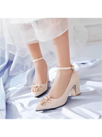 Frauen Satin Stämmiger Absatz Absatzschuhe mit Nachahmungen von Perlen Schuhe