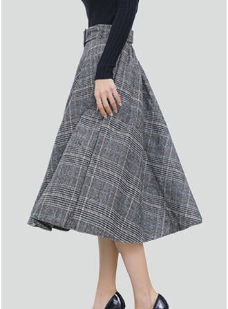 Polyester Plaid Mid-Calf A-Line Skirts