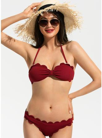 Couleur Unie Bandeau Sans Bretelle Sexy Mignon Bikinis Maillots De Bain
