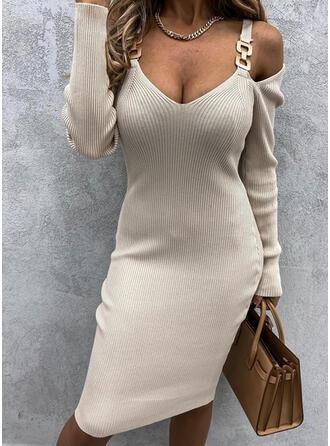 Couleur Unie Manches Longues Moulante Longueur Genou Petites Robes Noires/Décontractée Pull Robes