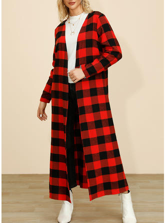 Polyester Long Sleeves Plaid Trench Coats Wide-Waisted Coats