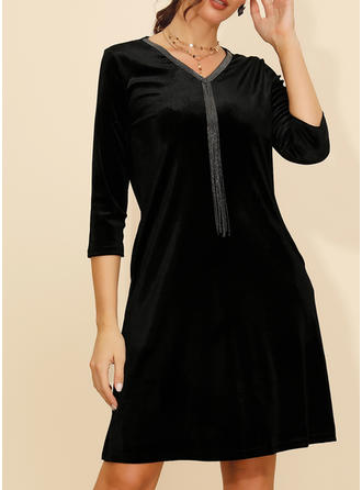 Solid Long Sleeves Shift Knee Length Little Black/Casual/Elegant Dresses
