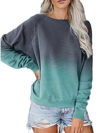 Print Round Neck Long Sleeves Casual Knit T-shirt