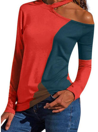 Color Block Cold Shoulder Long Sleeves Casual Blouses