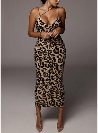 Print/Leopard/Backless Sleeveless Bodycon Slip Sexy/Party Midi Dresses