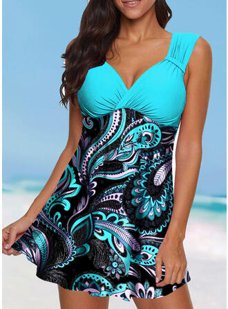 Floral Print Strap V-Neck Vintage Boho Swimdresses Swimsuits