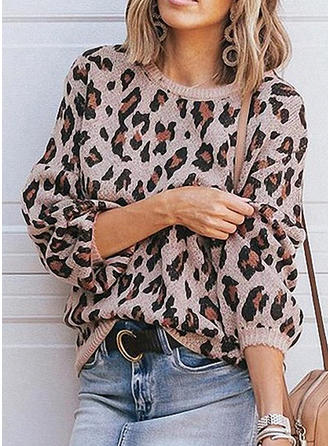 Animal Print Round Neck Sweaters