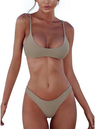 Couleur Unie Taille Basse À Bretelles Col U Sexy Bikinis Maillots De Bain