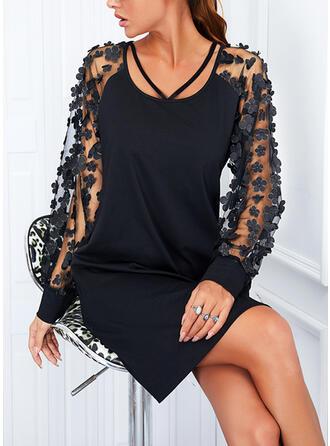 固体 長袖 シフトドレス 膝上 リトルブラックドレス/エレガント ドレス