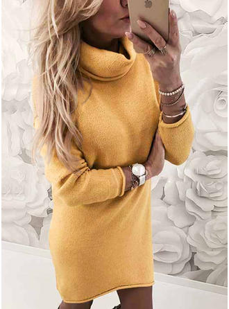 Solid Long Sleeves Shift Above Knee Sweater/Casual Dresses