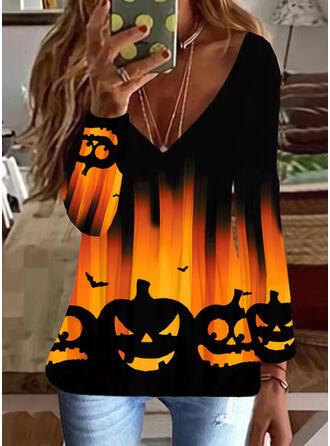 Halloween Printti Animal V-kaula Pitkät hihat T-paidat