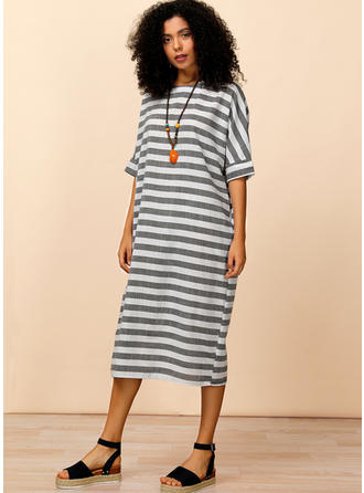 Striped 1/2 Sleeves Shift Midi Casual Dresses