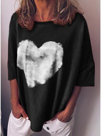 Imprimée Col Rond Manches 3/4 Décontractée T-shirts
