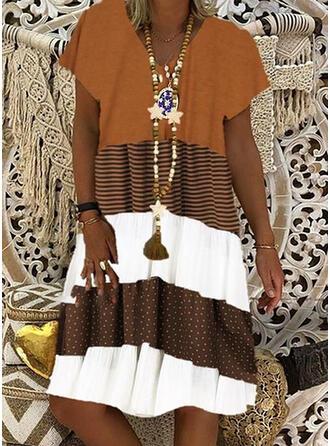 À Pois/À Rayures/Patchwork Manches Courtes Droite Longueur Genou Décontractée Robes