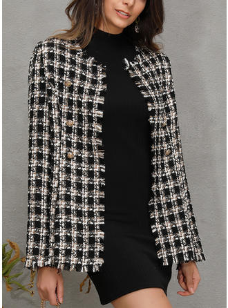 Mohair Long Sleeves Plaid Wide-Waisted Coats Jackets