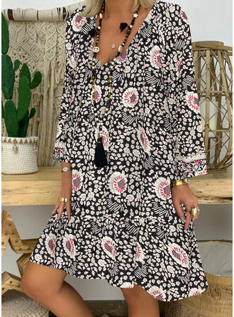 Print/Floral Long Sleeves Shift Above Knee Sexy/Casual/Vacation Dresses