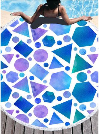 Geometric Print Oversized/rundă prosop de plajă