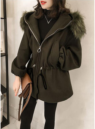Polyester Faux Fur Cotton Long Sleeves Plain Slim Fit Coats