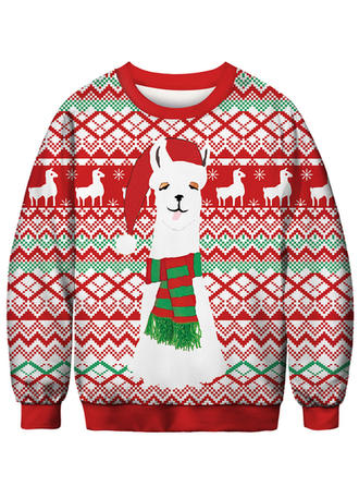 Unisex Polyester Spandex Print Cartoon Christmas Sweatshirt