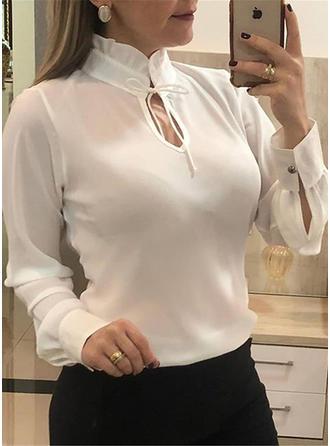 твердый Воротник-стойка Длинные рукова Повседневная элегантный Блузы