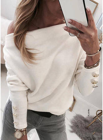 Solid Off the Shoulder Batwing Sleeve Casual Elegant Sexy Knit Blouses