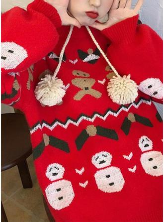 Poliester Okrągły Dekolt Wydrukować Brzydki świąteczny sweter