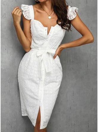Jednolita Krótkie rękawy Pokrowiec Casual/Elegancki Midi Sukienki