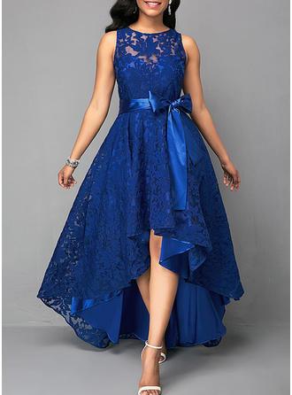 Koronka Okrągły Dekolt Asymetryczny Sukienka Trapezowa