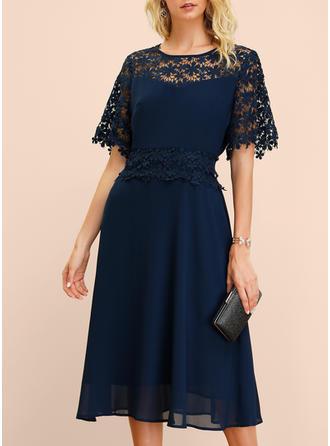 Koronka/Jednolita Rękawy 1/2 W kształcie litery A Midi Przyjęcie/Elegancki Sukienki