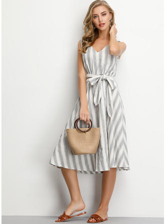 Striped Sleeveless A-line Knee Length Casual Dresses