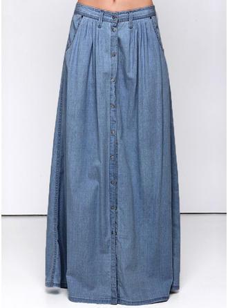 Algodón Color sólido Maxi Faldas Demin