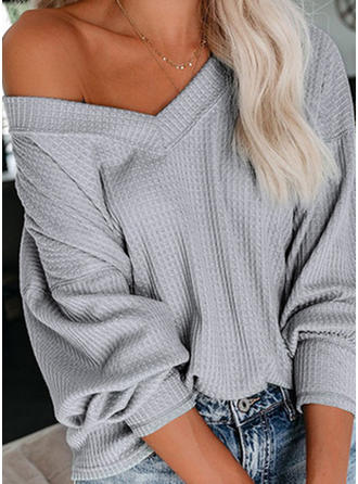 Solid One Shoulder Long Sleeves Casual Sexy Blouses