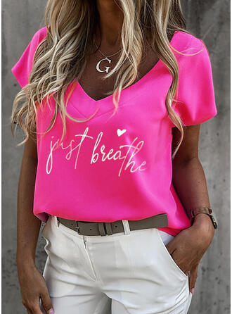 Hart Print Letter V-hals Korte Mouwen T-shirts