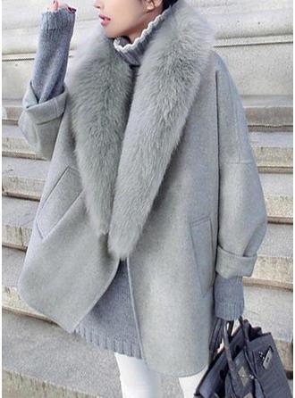 Woolen Faux Fur Long Sleeves Plain Wide-Waisted Coats
