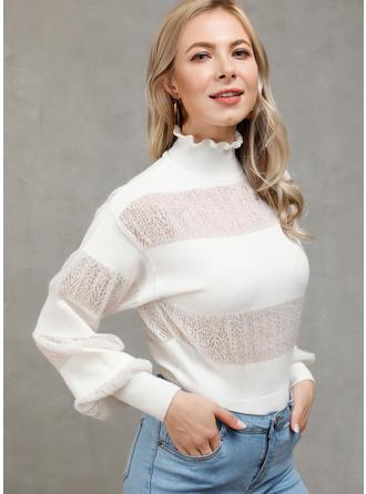 Geblockte Farben Stehkragen Pullover