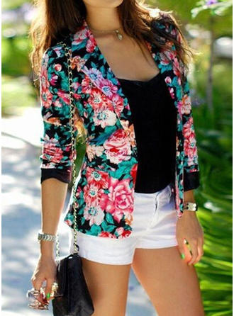 Cotton Blends Long Sleeves Floral Jackets