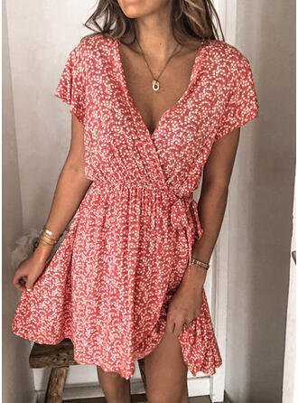 Print Short Sleeves A-line Above Knee Casual Wrap/Skater Dresses