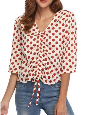 PolkaDot V Neck 1/2 Sleeves Casual Elegant Blouses