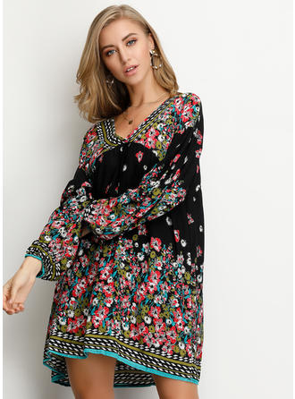 Print/Floral Long Sleeves/Puff Sleeves Shift Above Knee Casual Dresses