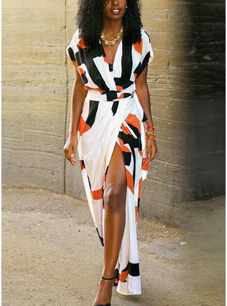 Print Slit V-neck Maxi Shift Dress