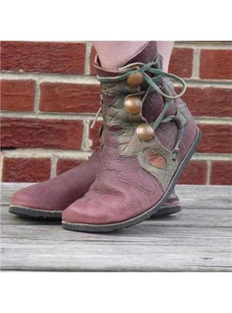 Femmes PU Talon plat Chaussures plates Bottes Bottines avec Boucle chaussures