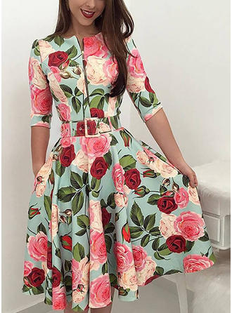 Floral 1/2 Sleeves A-line Midi Casual Dresses